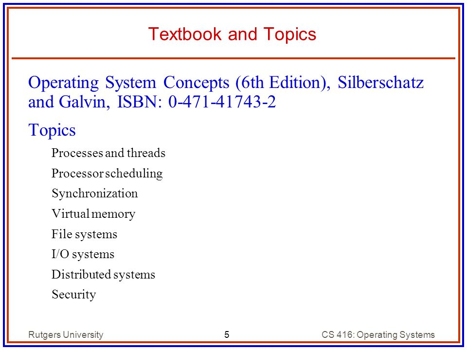 Introduction cs 416 operating systems design spring ppt download 5 textbook and topics operating system concepts fandeluxe Image collections