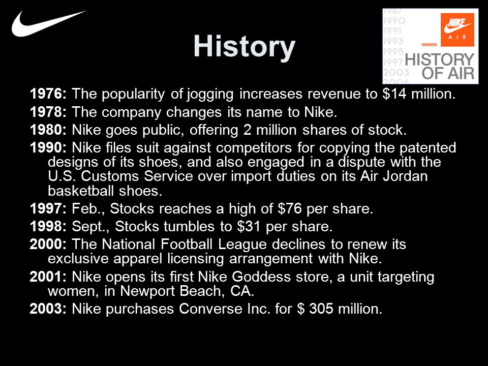 the history of nike inc footwear marketing essay Nike is considered to be one of the largest american suppliers of athletic shoes, apparel, and sports equipment at the same time, this company and its brand are well-known worldwide to a significant extent, this is the result of the strategy of the international markets expansion that is one of the main directions of the strategic development.