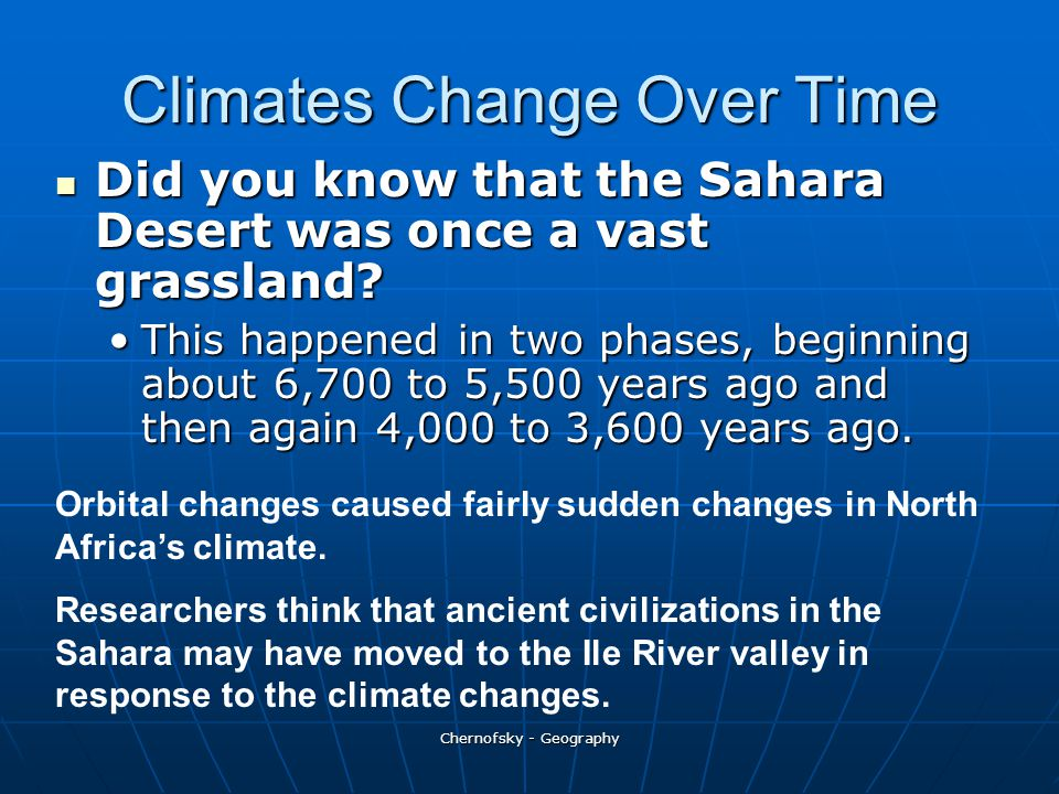 Climates Change Over Time