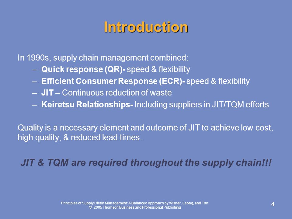 tqm in supply chain Refers to companies extending their tqm efforts to include supply chain partners if members of the supply chain do not share the same commitment to tqm, quality will suffer because suppliers' materials and services ultimately.