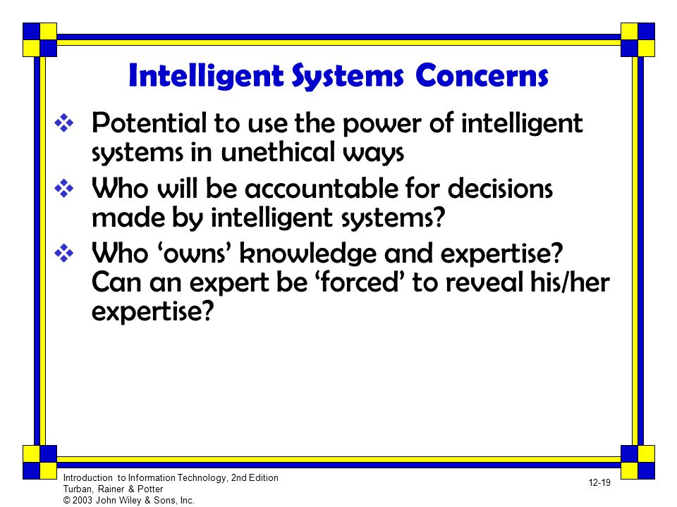 Intelligent Systems Concerns