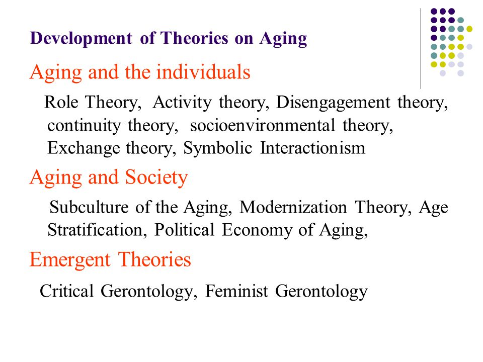 Describe two theories of ageing. Disengagement theory and Activity theory