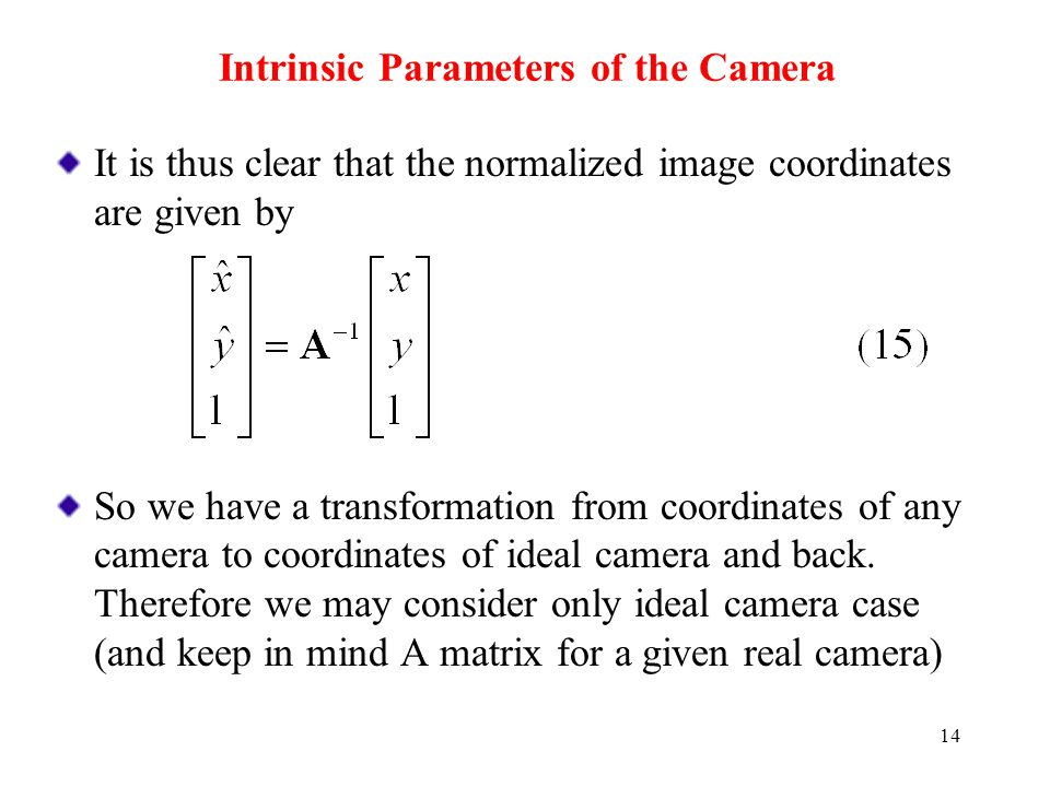 Intrinsic Parameters of the Camera