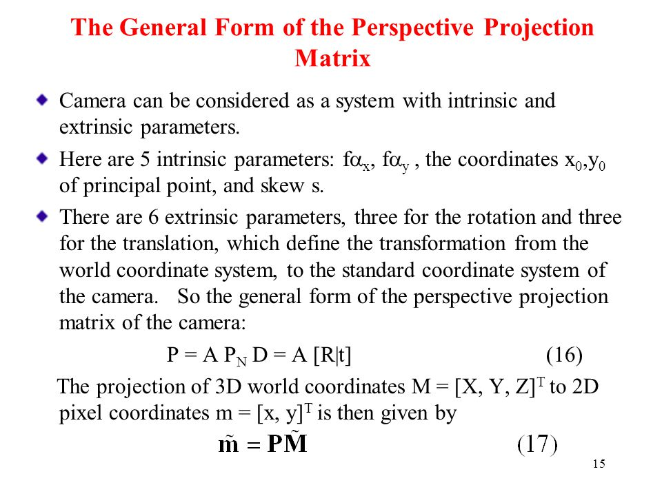 The General Form of the Perspective Projection Matrix