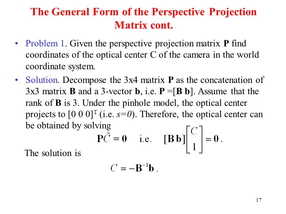The General Form of the Perspective Projection Matrix cont.
