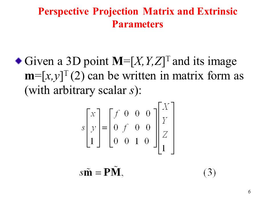 Perspective Projection Matrix and Extrinsic Parameters