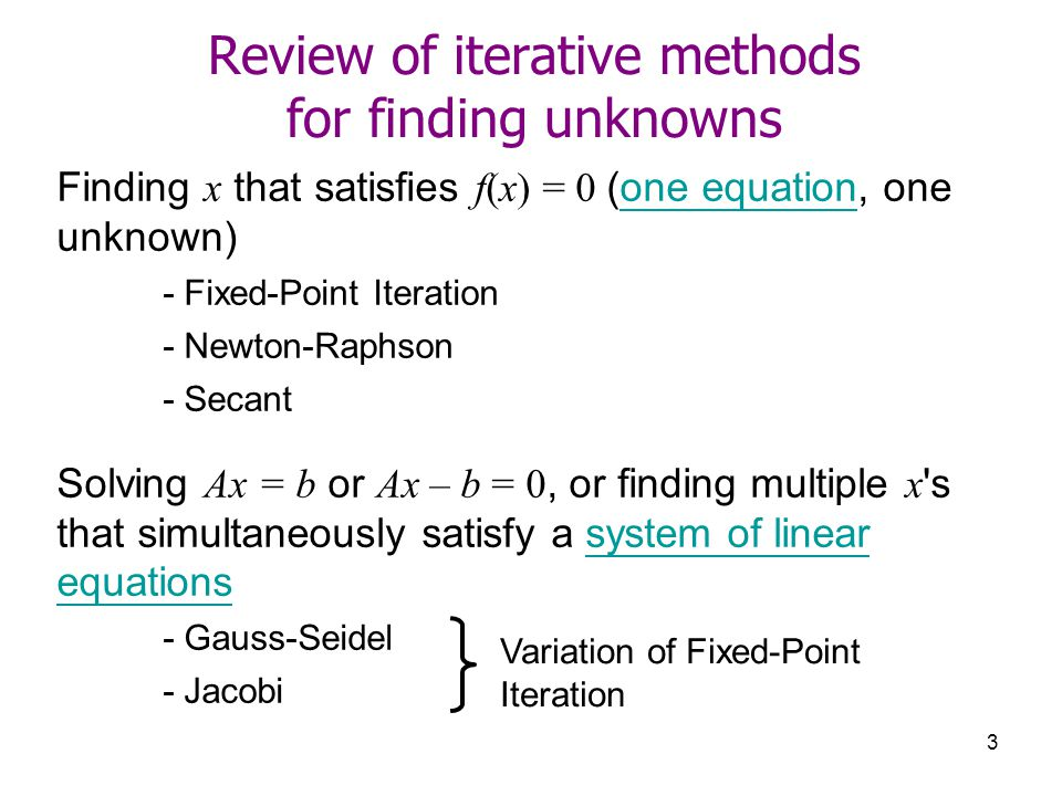 Review of iterative methods for finding unknowns