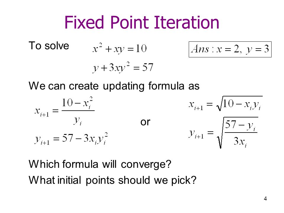 Fixed Point Iteration To solve We can create updating formula as or