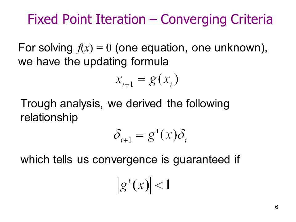 Fixed Point Iteration – Converging Criteria