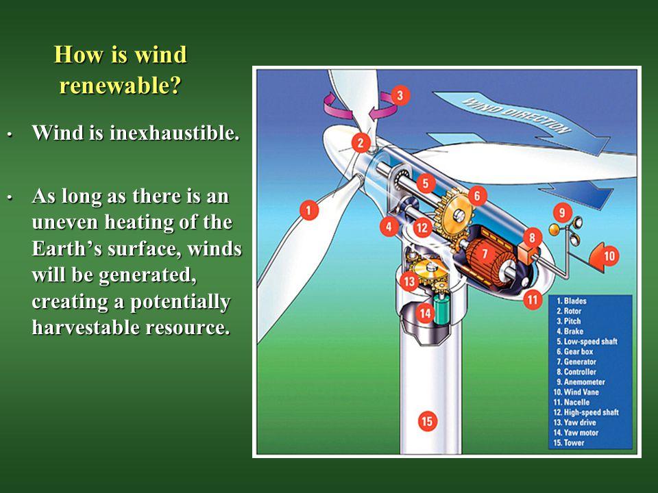 How is wind renewable Wind is inexhaustible.