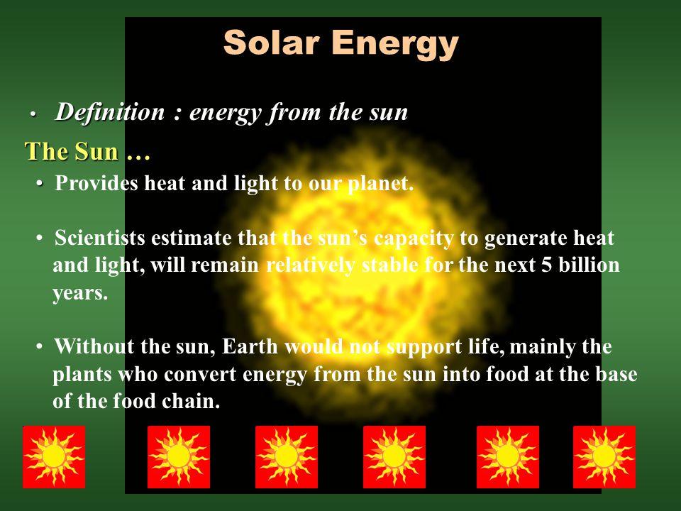 Solar Energy Definition : energy from the sun The Sun …