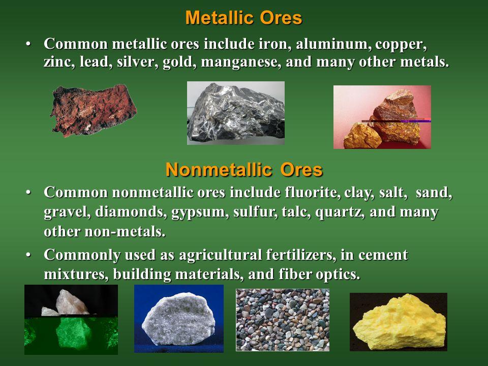 Metallic Ores Nonmetallic Ores