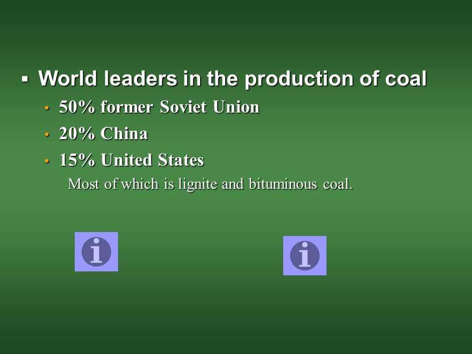 World leaders in the production of coal