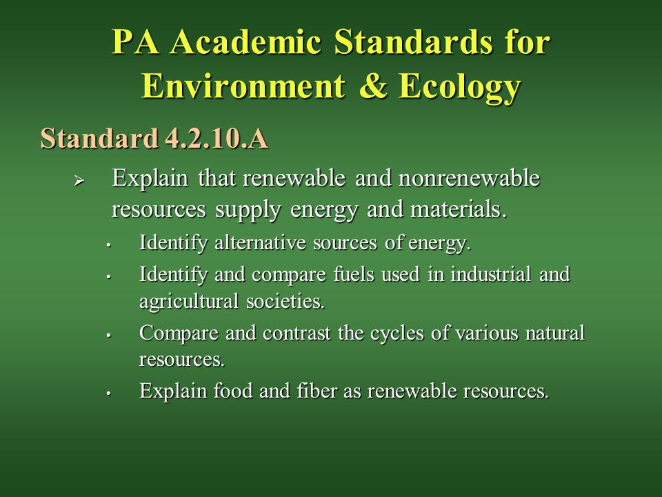 PA Academic Standards for Environment & Ecology