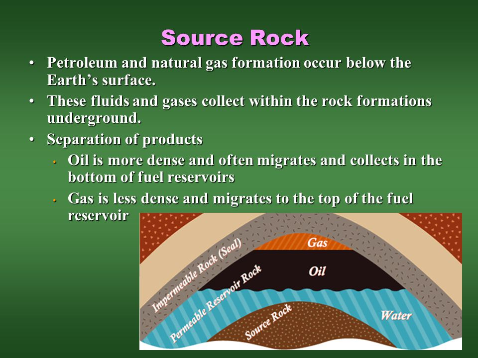 Source Rock Petroleum and natural gas formation occur below the Earth's surface.