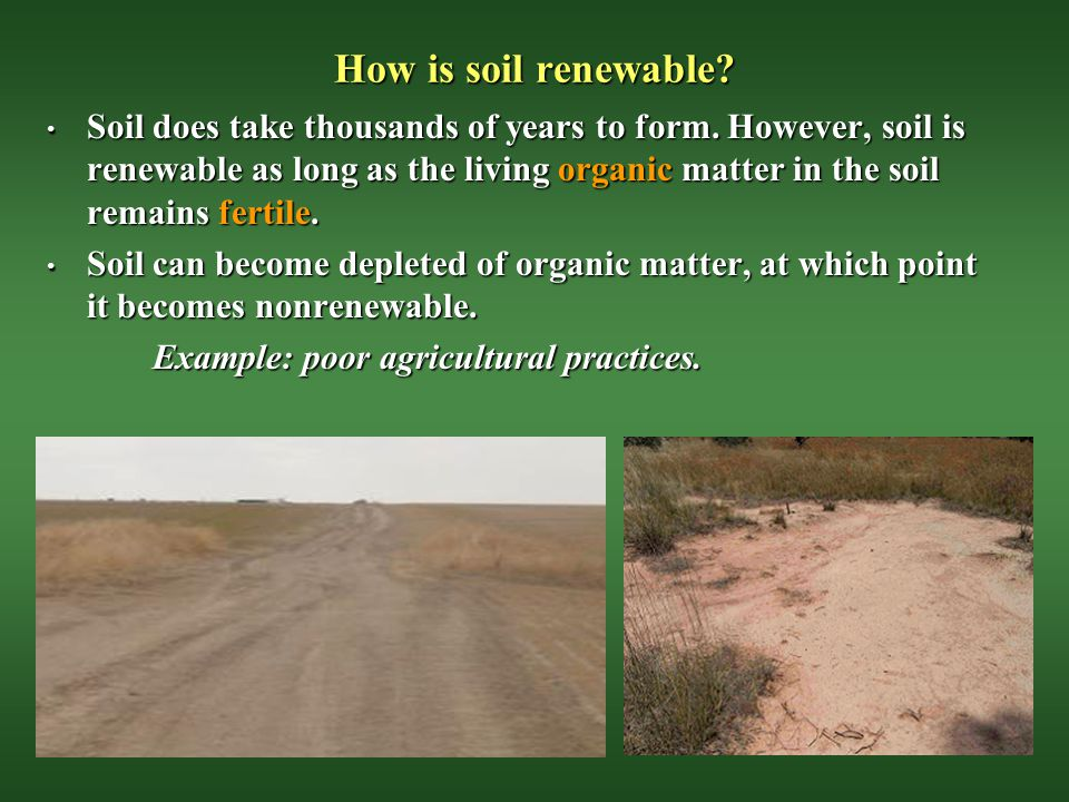 Renewable and nonrenewable resources chapter 2 ppt video for Meaning of soil resources