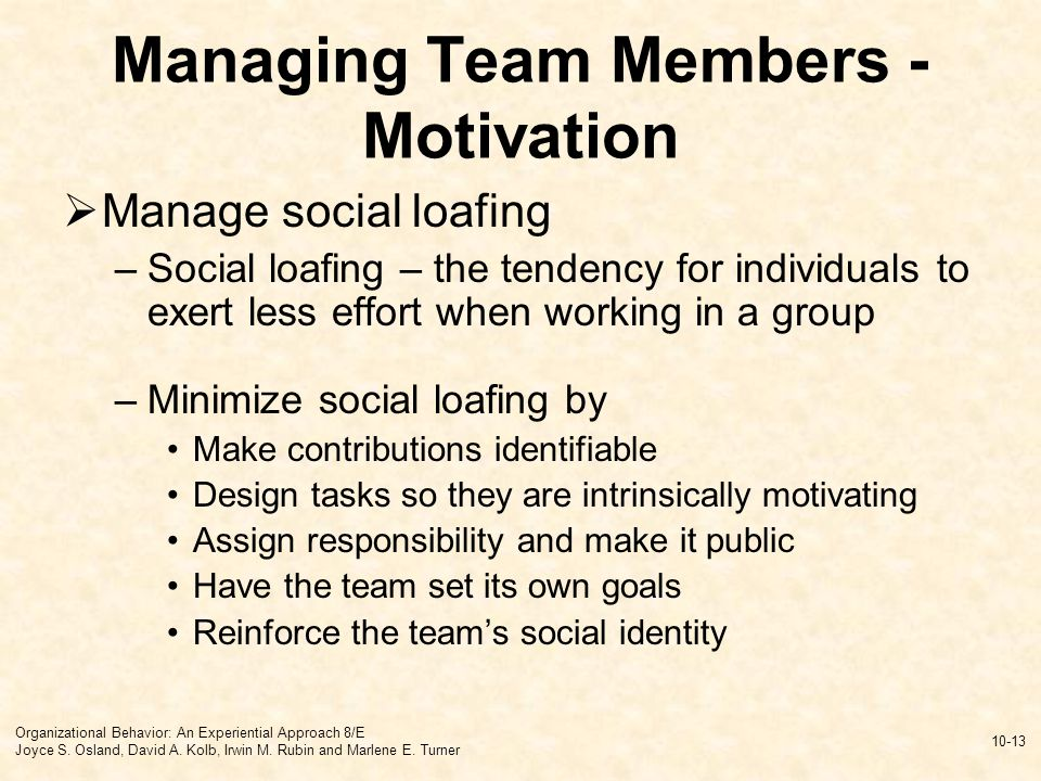 motivation of team members By allowing them to work in an area they find interesting, you will motivate them,  and other team members will notice how much attention you.