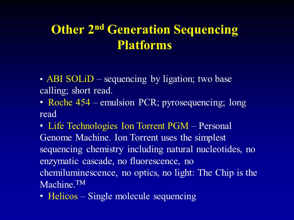 Other 2nd Generation Sequencing Platforms