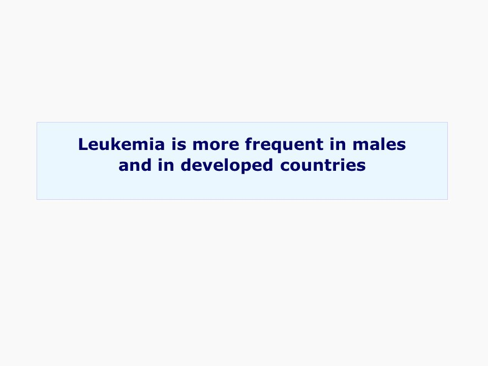 Leukemia is more frequent in males and in developed countries
