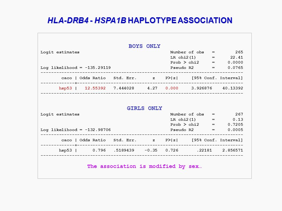 HLA-DRB4 - HSPA1B HAPLOTYPE ASSOCIATION