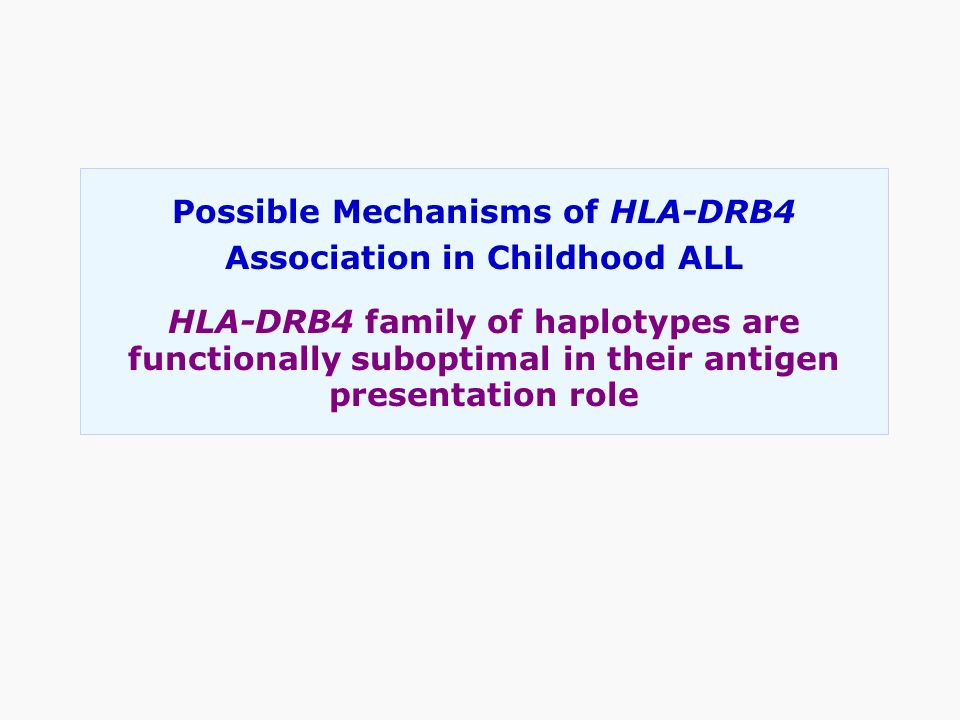 Possible Mechanisms of HLA-DRB4 Association in Childhood ALL