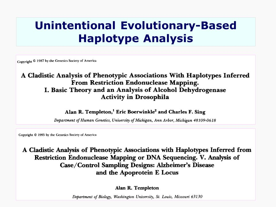 Unintentional Evolutionary-Based Haplotype Analysis