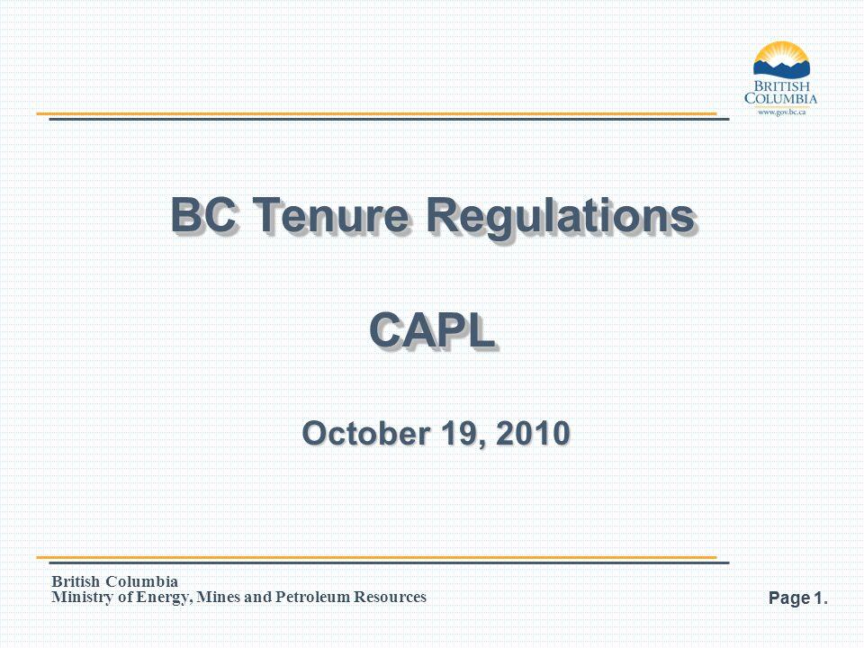 BC Tenure Regulations CAPL
