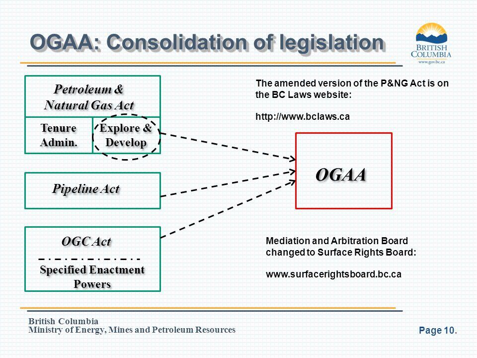 OGAA: Consolidation of legislation