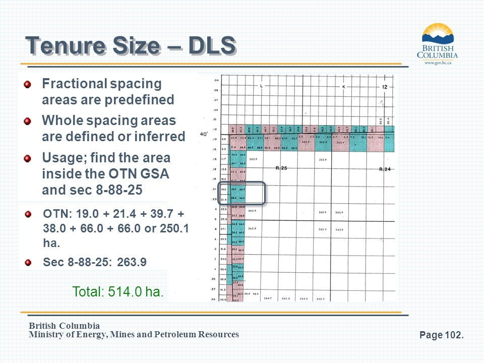 Tenure Size – DLS Fractional spacing areas are predefined