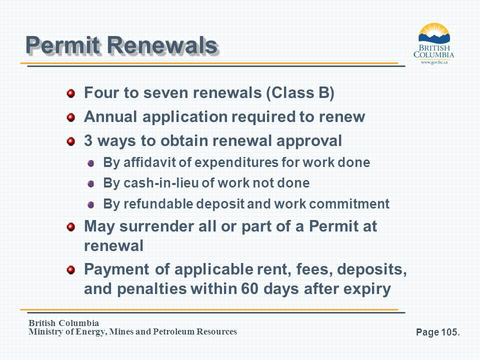 Permit Renewals Four to seven renewals (Class B)