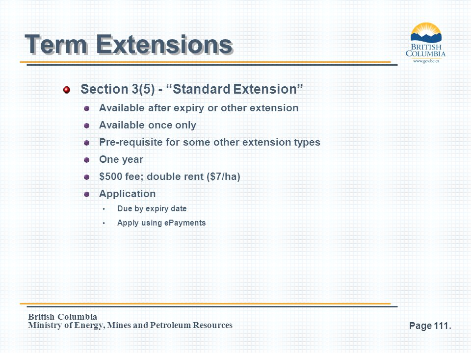 Term Extensions Section 3(5) - Standard Extension