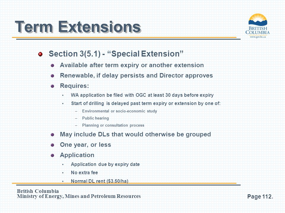 Term Extensions Section 3(5.1) - Special Extension