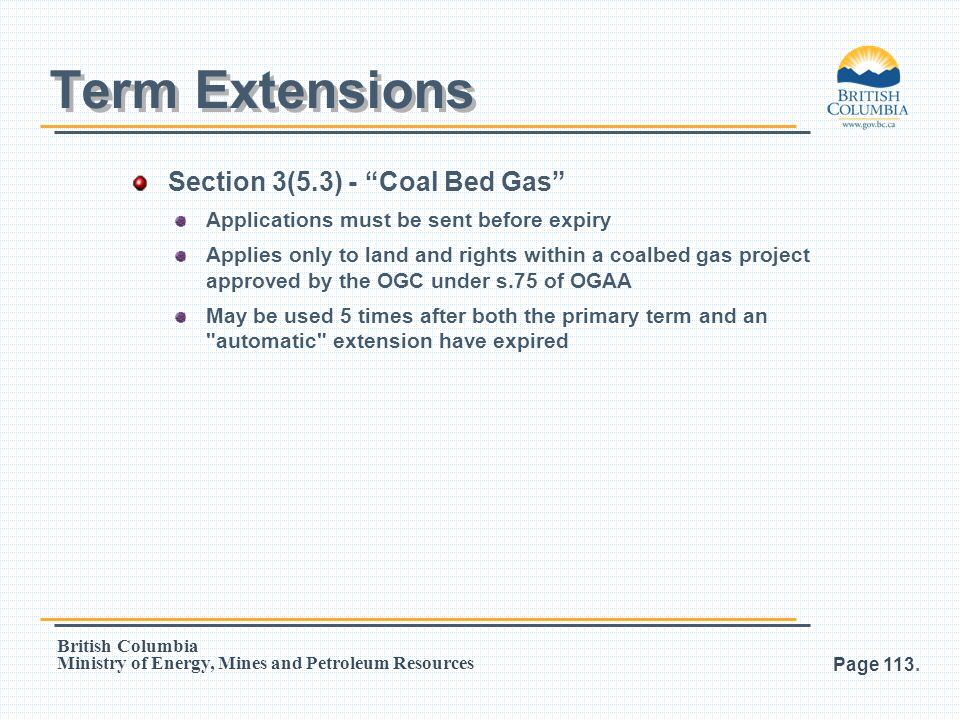Term Extensions Section 3(5.3) - Coal Bed Gas