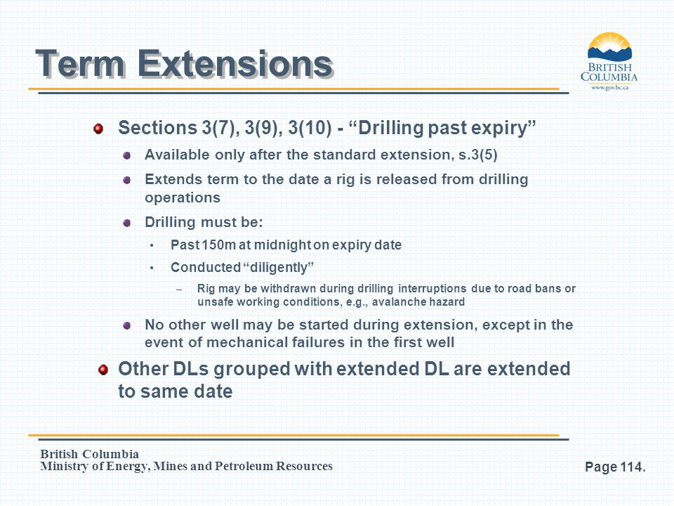 Term Extensions Sections 3(7), 3(9), 3(10) - Drilling past expiry