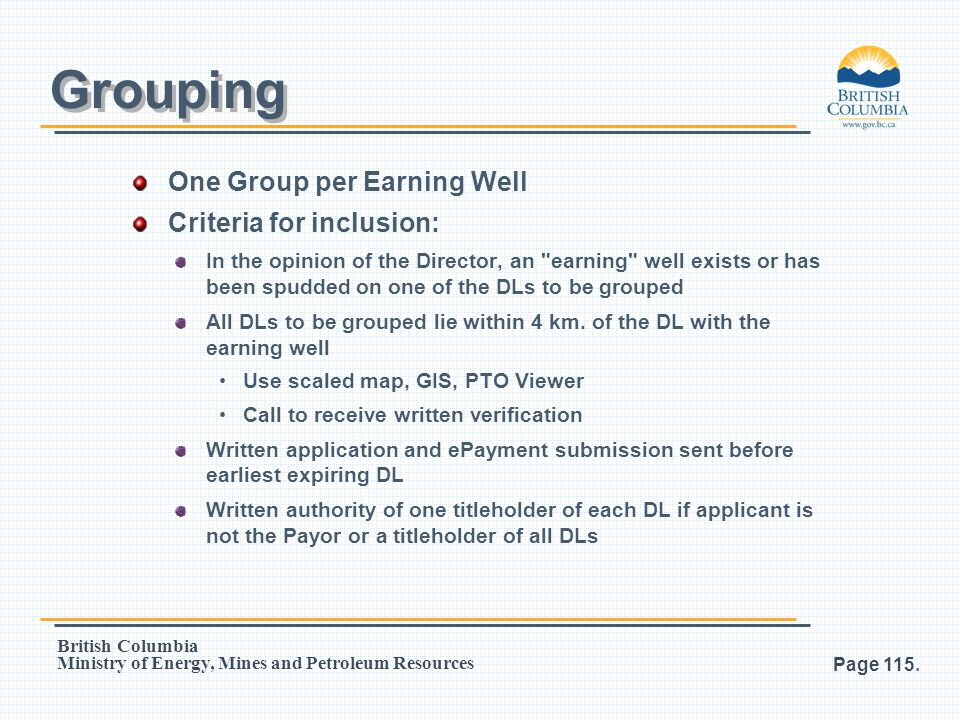 Grouping One Group per Earning Well Criteria for inclusion: