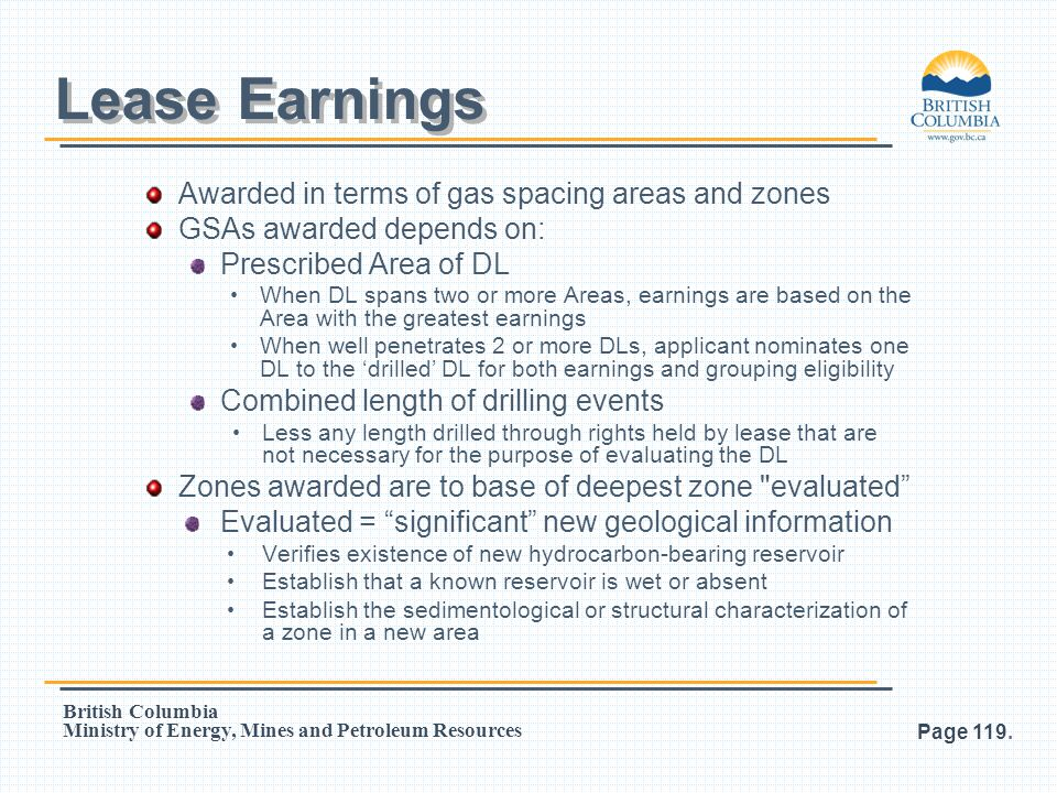 Lease Earnings Awarded in terms of gas spacing areas and zones