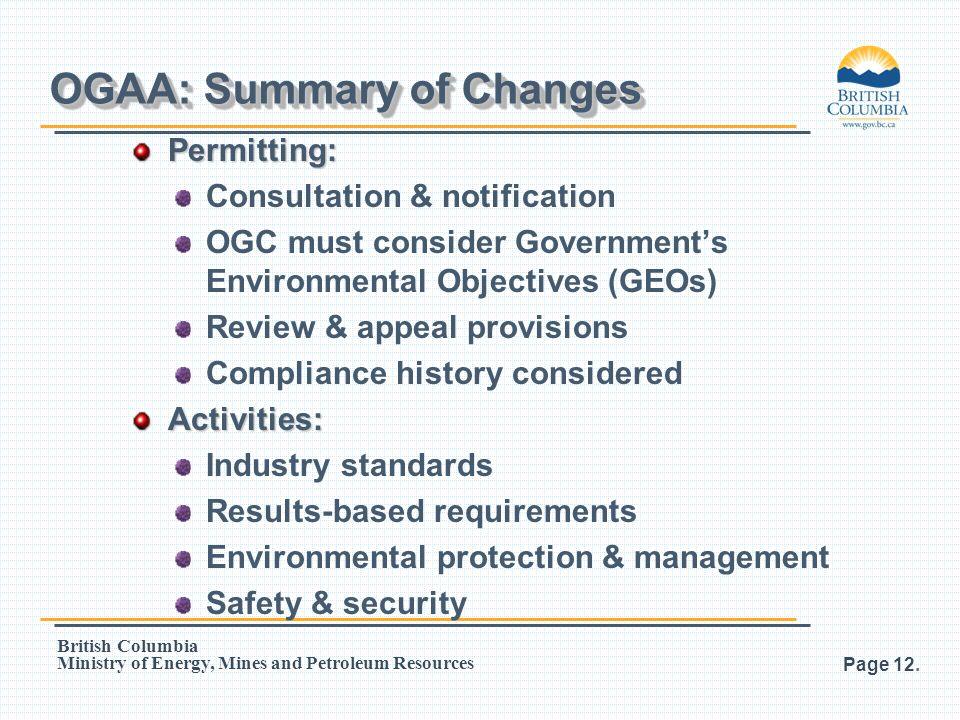 OGAA: Summary of Changes
