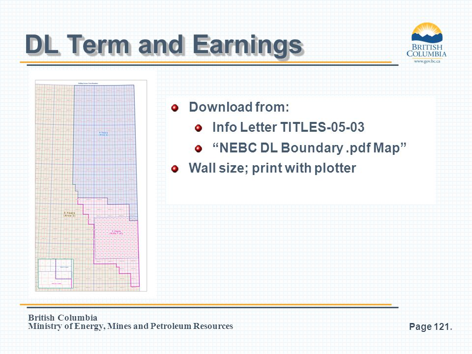 DL Term and Earnings Download from: Info Letter TITLES-05-03