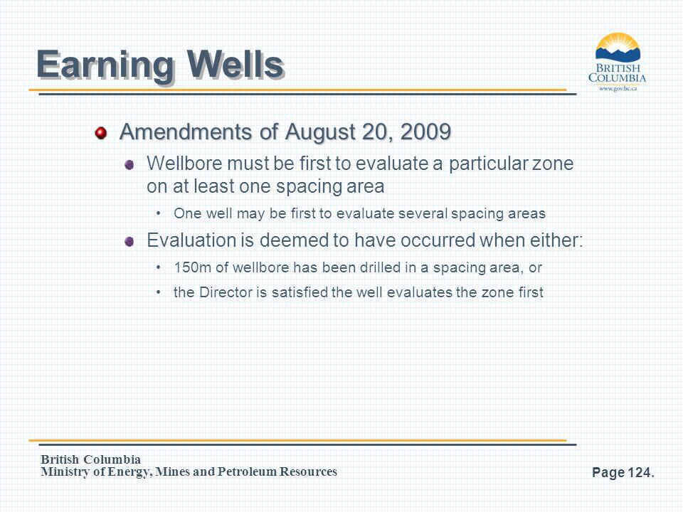 Earning Wells Amendments of August 20, 2009