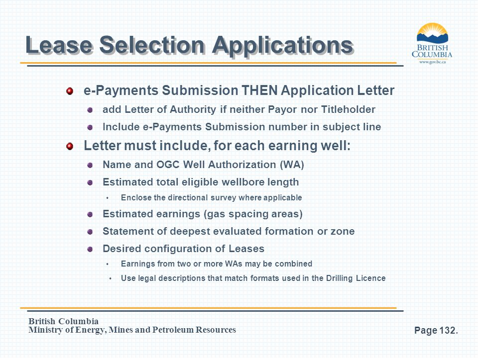 Lease Selection Applications