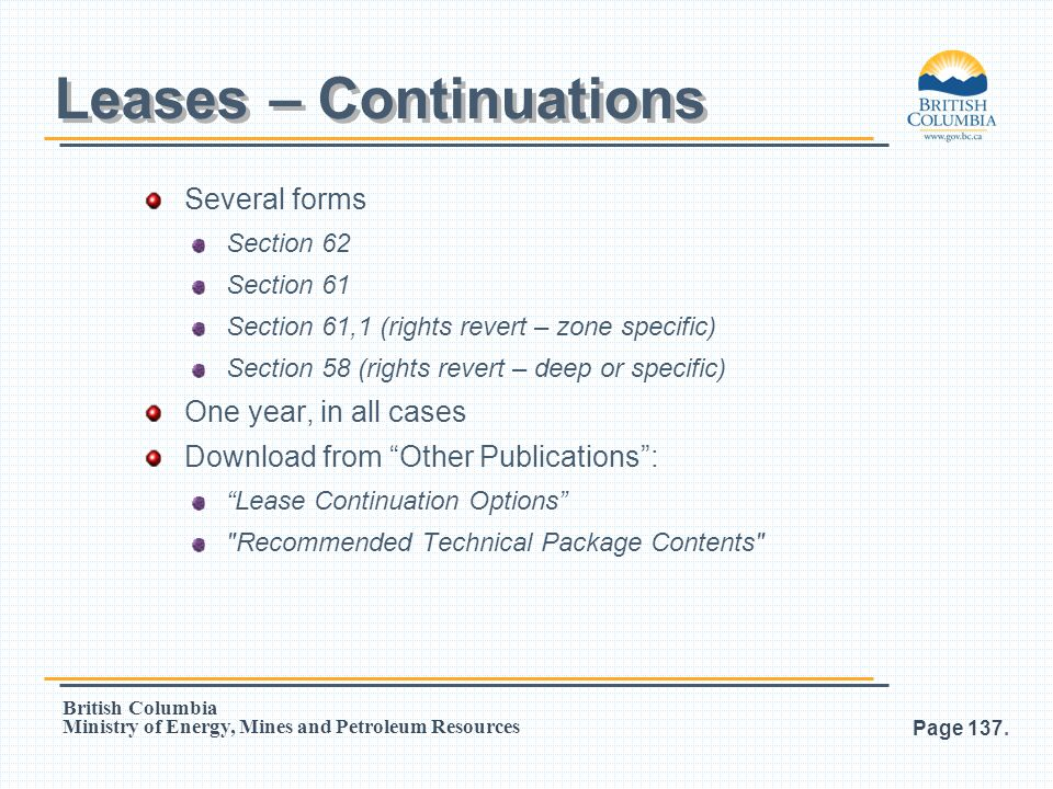 Leases – Continuations