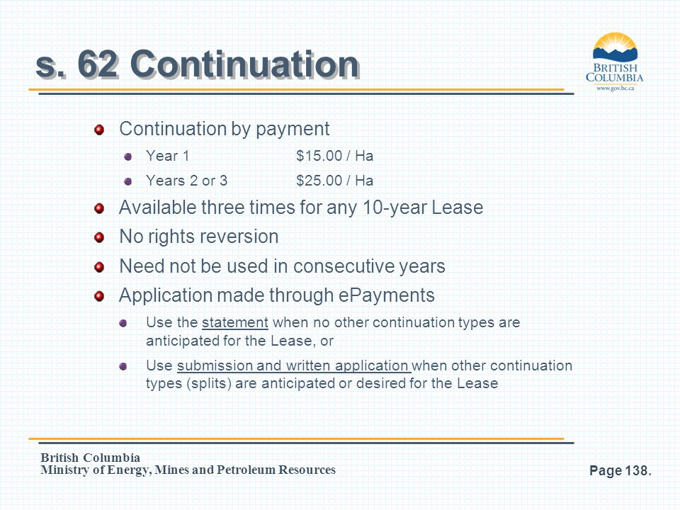s. 62 Continuation Continuation by payment
