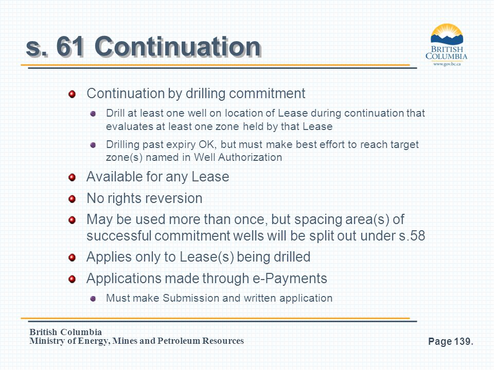 s. 61 Continuation Continuation by drilling commitment
