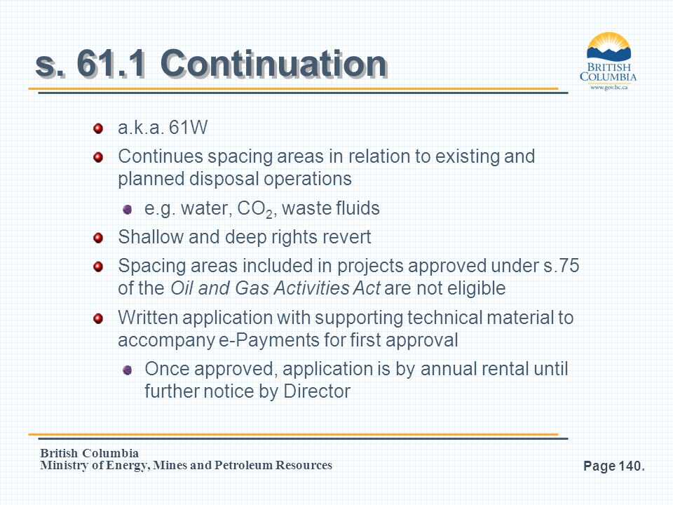 s. 61.1 Continuation a.k.a. 61W. Continues spacing areas in relation to existing and planned disposal operations.