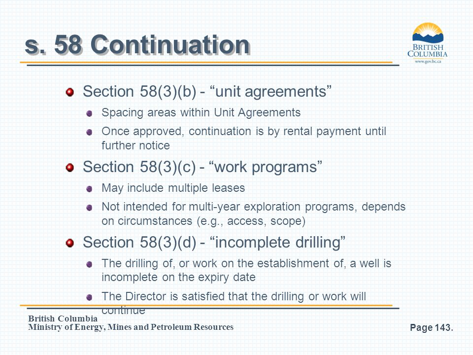 s. 58 Continuation Section 58(3)(b) - unit agreements