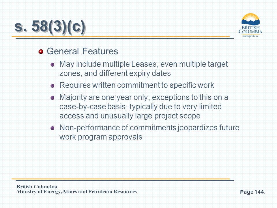 s. 58(3)(c) General Features