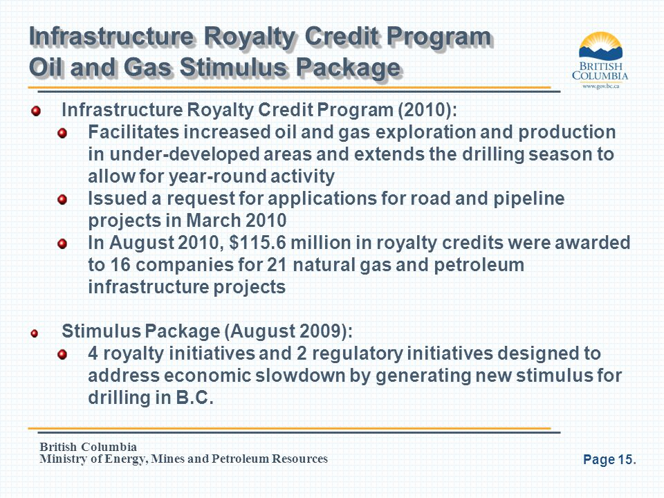 Infrastructure Royalty Credit Program Oil and Gas Stimulus Package