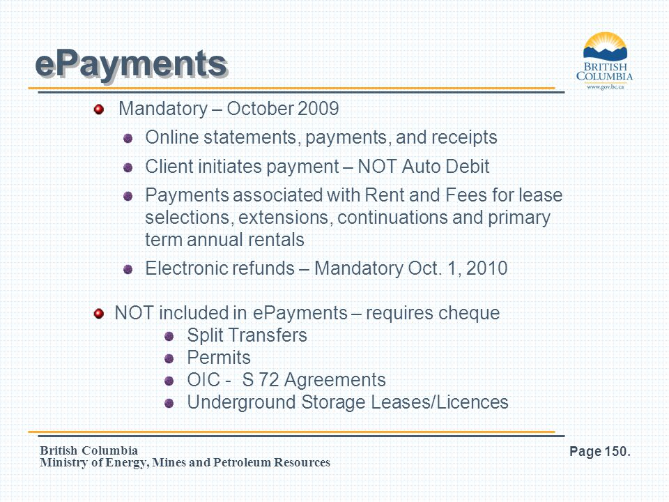 ePayments Mandatory – October 2009