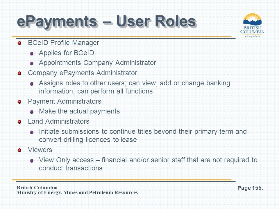 ePayments – User Roles BCeID Profile Manager Applies for BCeID
