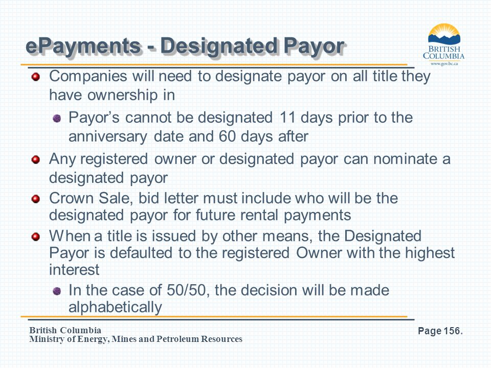 ePayments - Designated Payor